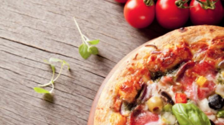 Вегетарианска пица с домати, чушки, маслини и гъби|escape