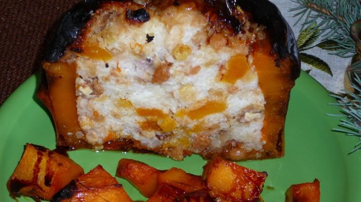 Печена тиква с ориз и плодове|escape