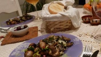 Гъби с ориз, спанак и броколи