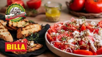 Салата от домати с биволско сирене и лимонов дресинг с орехи