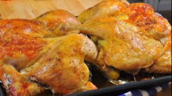 Пълнено пиле с ориз, гъби и пилешки дробчета